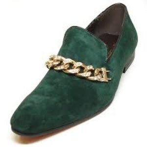 NWB FIESSO SUEDE Shoe GREEN chain slip on FI6788